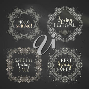 Hand-drawn linear flowers and leaves on tree branches. Seasonal lettering and flourishes. Blackboard background. There is copyspace for your text.