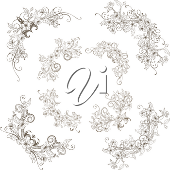 Outlined ornament of flowers and leaves on tree branches. Hand-drawn flourishes.
