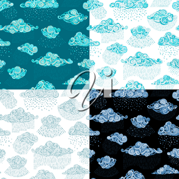 Various ornate clouds and rain drops. Doodles boundless backgrounds.