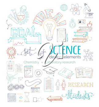 Chemistry and laboratory research symbols and icons. Dna, molecules, books, test-tubes, microscope and other hand-drawn objects.