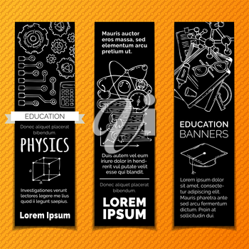 Chemistry and laboratory research symbols. Molecules, books, gears, PCB and other objects on black background.
