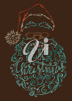Hand-drawn coloured contour of Santa Claus face on dark brown background. Hat with pompon, glasses and curly beard.