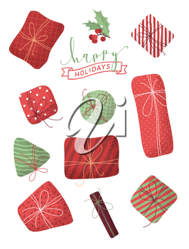 Happy holidays design elements. Mistletoe branch. Red and green grunge illustration.