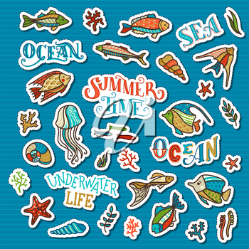 Trendy patch badges and pins with cartoon fish, sea plants, jellyfish, corals and algae, shells and starfish. Hand-drawn doodles design elements on blue background.