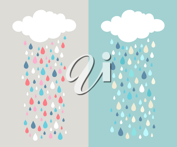 Cute vector illustrations for kid's room, invitation or greeting card. Two variations.