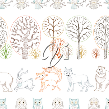 Colored contours of wild animals and birds on white background. Fox, bear, hare, wolf and owls. Trees and bushes. Seamless repeating tiles.