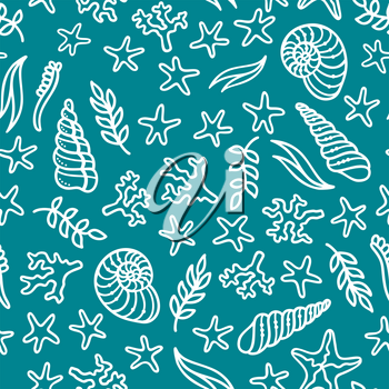 Duotone blue and white boundless background. Various sea plants and algae, shells and starfish. Great for web page background, wrapping paper and invitation.