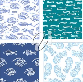 Duotone doodles illustrations. Boundless background can be used for web page background, wrapping paper and invitation.