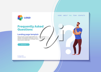 Corporate helpline landing page vector template. Company FAQ webpage design layout with text space. Confused client needs help cartoon character. Customer support, helpdesk website page