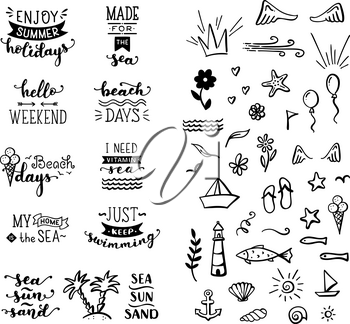 Unique calligraphic quotes and phrases written by brush. Great for poster, mug, bag, card or t-shirt. Black and white doodles.