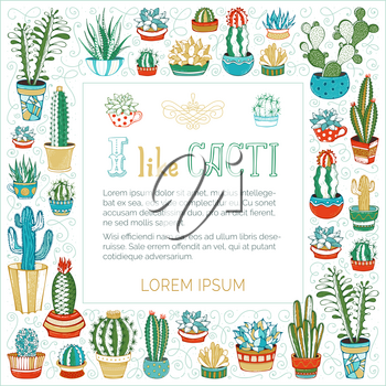 Various cacti in flower pots and cups on white background. Hand-drawn swirls and spirals. Some of them are with prickles and flowers.