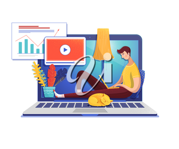 Man studying online flat vector illustration. Student cartoon character watching data analysis video lesson. School, university Internet class. E learning, self education. Guy and cat on laptop