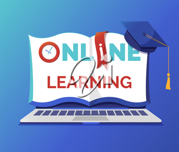 Online learning and education banner flat vector template. Open notebook with typography on pages. Elearning, Internet courses, university distant program. Graduation cap and textbook illustration