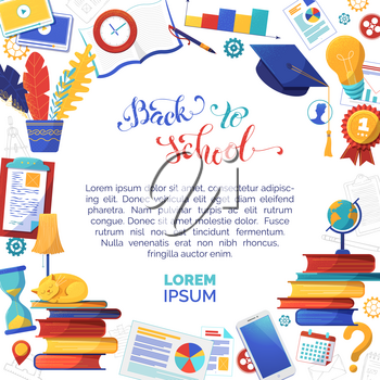 Back to school flat vector banner template with text space. Office stationery shop social media post layout. Books, graduation cap illustrations. Online education, elearning and knowledge