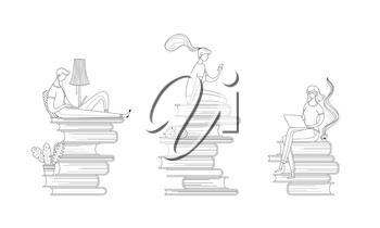 Digital library readers outline vector illustrations set. Girl reading ebook, student preparing for lesson, pupil studying online cartoon characters pack. Teacher sitting on book pile line art