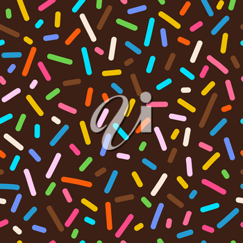 Donut chocolate glaze, creamy cupcake icing seamless pattern. Pastry decor on brown backdrop. Sugary dessert decoration creative fabric, textile, wrapping paper, wallpaper color vector design