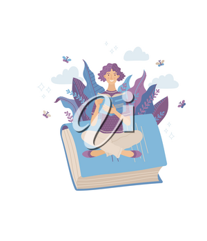Young smiling woman reading book while sitting on giant book. Spending summertime weekend at nature with book vector illustration. Satisfied girl relaxing and studying outdoor. Self-education concept