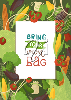 Blank frame on vegetable background flat vector illustration. Square border backdrop. Fresh veggies and bakery, vegan nutrition, healthy products. Organic food and recyclable handbags