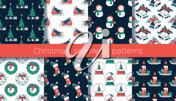 Christmas flat seamless patterns set. Color vector texture. Christmas tree and gifts, fireplace with socks,  snowman and wreath, snow globe with house. Cartoon wrapping paper, wallpaper design