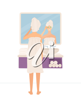 Young girl using natural products for skin care. Beautiful woman standing in bathroom and looking at her reflection in mirror. Cute girl wearing towel after shower. Flat cartoon female character