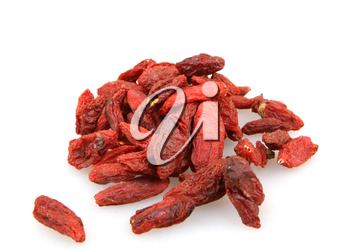 Goji berries isolated on white background.