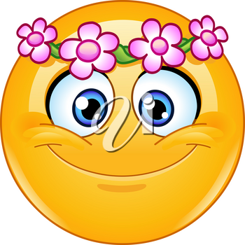 Emoji emoticon with floral wreath
