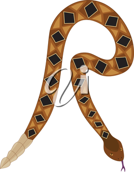 Royalty Free Clipart Image of a rattlesnake making the letter 'R'