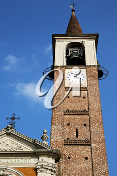mozzate   old abstract in  italy   the   wall  and church tower bell sunny day