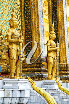 demon in the temple bangkok asia   thailand abstract cross colors step gold wat  palaces  warrior monster