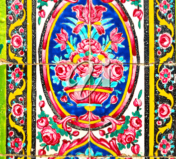 in iran the old decorative flower tiles from antique mosque like background