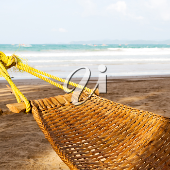 in  philippines  view from an hammock  near ocean beach and sky concept of relax