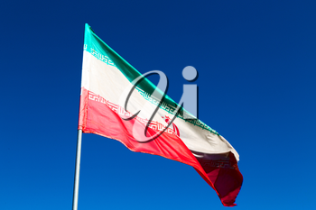 in iran blur  iranian waving flag  the blue sky and wind