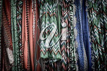 in  ethiopia africa the colorful background of the cotton skirt in the market