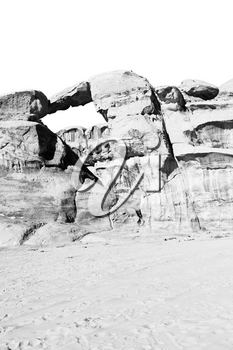 wadi rum in jordan the old desert and the rock near the hole