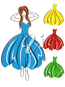 Graceful girl in blue dress and set of various color gowns, hand drawing vector illustration