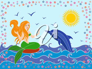 Dolphin and Mermaid as a mythical girl on the sea waves in the warm season, hand drawing vector illustration