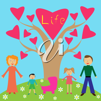 Family among nature vector illustration like a child drawing