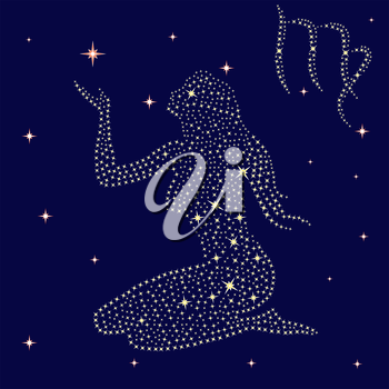 Zodiac sign Virgo on a background of the starry sky, vector illustration