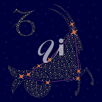 Zodiac sign Capricorn on a background of the starry sky with the scheme of stars in the constellation, vector illustration