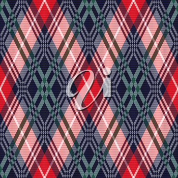 Rhombus seamless vector pattern as a tartan plaid mainly in red, pink, green and dark blue colors