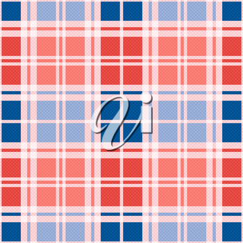 Rectangular seamless vector pattern as a tartan plaid mainly in red an blue trendy hues
