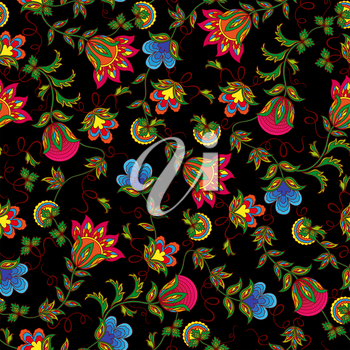 Seamless vector pattern with beautiful colourful flowers on the black background