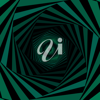 Concentric hexagonal shapes forming the digital sequence with swirl pseudo 3D effect, abstract vector pattern in green and black color