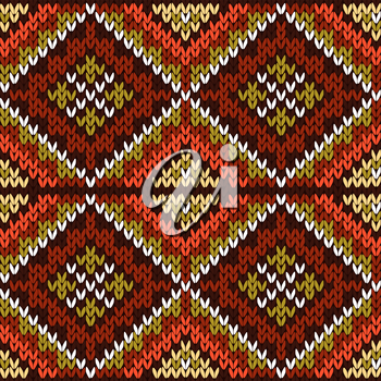 Knitted geometric motley background in warm colors and in white, seamless knitting vector pattern as a fabric texture