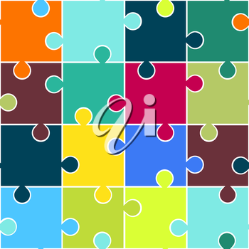 Puzzle seamless pattern. Teamwork concept background. Vector illustration