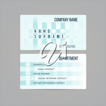 Business card template made in bright funky colorful design. Vector