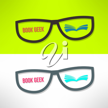 Vector book geek idea with glasses and book. Learning and reading concept.