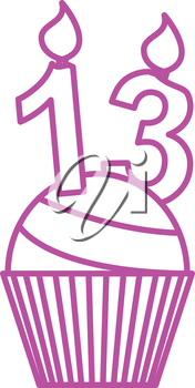 simple thin line 13 candle cupcake icon vector