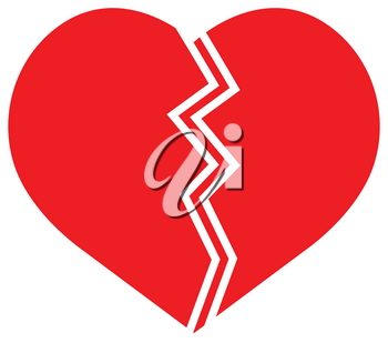 Flat color cracked heart icon vector