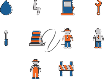 Collection of construction icon vector
